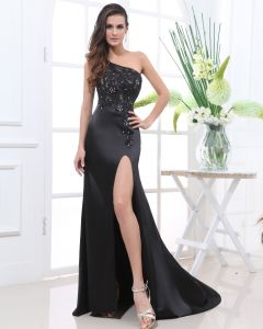 Satin Lace Beading Flower One Shoulder Sleeveless Floor Length Slit Evening Dress
