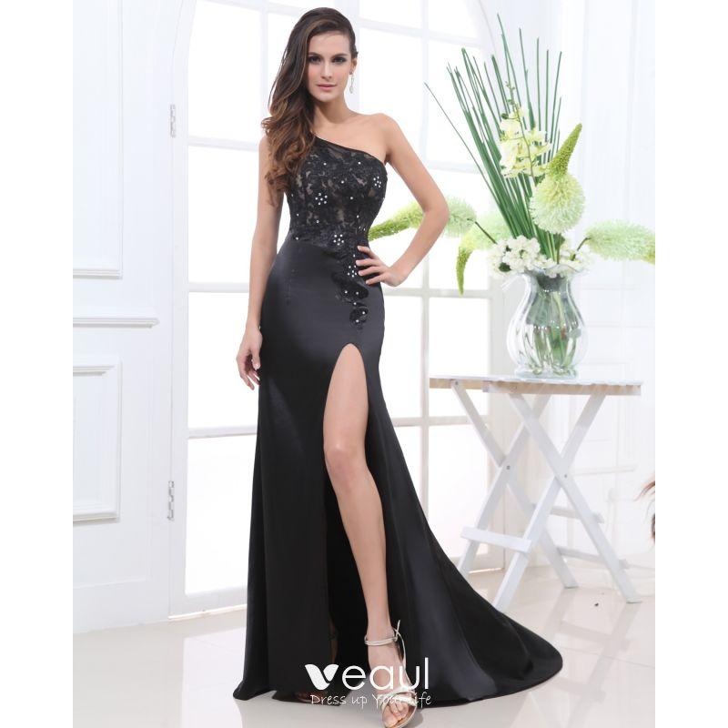 Satin Lace Beading Flower One Shoulder Sleeveless Floor Length Slit Evening Dress
