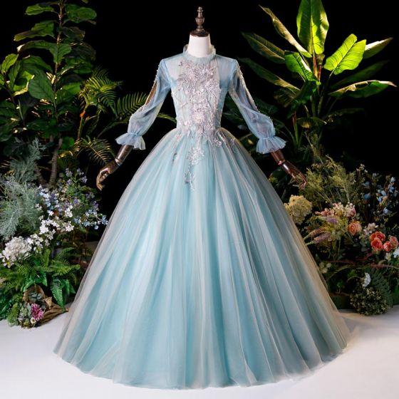 Wiktoriański Styl Niebieskie Taniec Sukienki Na Bal 2020 Suknia Balowa Wysokiej Szyi Bufiasta Długie Rękawy Aplikacje Z Koronki Frezowanie Perła Długie Wzburzyć Bez Pleców