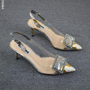 Fine Sølv Casual Sandaler Dame 2019 Rhinestone Ankelstropp 7 cm Stiletthæler Spisse Sandaler