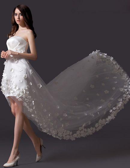 2015 A-linie Stickte Blumen Asymmetrischen Tüll Kurzen Hochzeitskleid