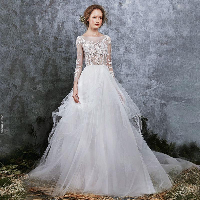 Illusion Ivory Summer See-through Wedding Dresses 2018 A-Line / Princess Scoop Neck Long Sleeve Appliques Lace Ruffle Cathedral Train