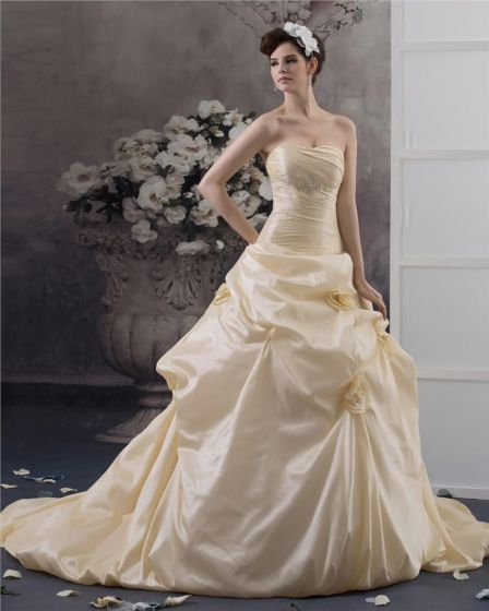 Sweetheart Cathedral Train Taffeta A Line Wedding Dress