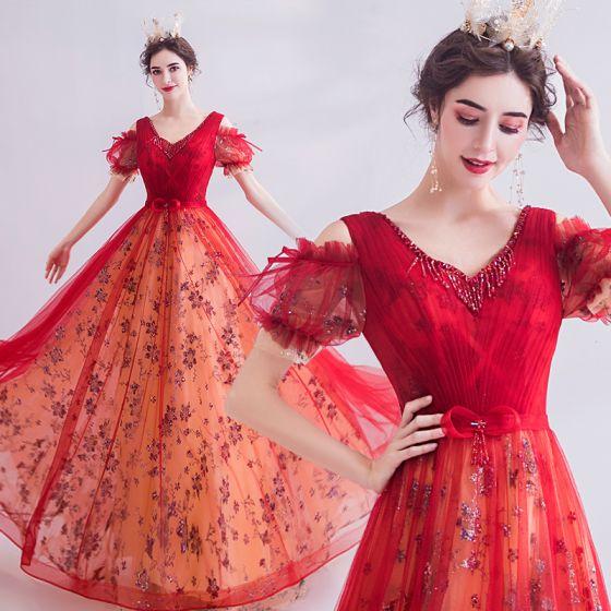 Fairytale Red Prom Dresses 2020 A-Line / Princess V-Neck Beading Crystal Sequins Bow Short Sleeve Backless Floor-Length / Long Formal Dresses