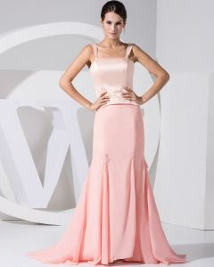 Chiffon Satin Silk Beading Shoulder Straps Floor Length Mother of the Bride Dress