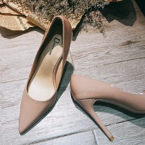 Modest / Simple Chic / Beautiful Nude Office OL Pumps 2020 Leather 10 cm Stiletto Heels Pointed Toe Pumps