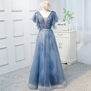 Schöne Blau Ballkleider 2019 A Linie V-Ausschnitt Spitze Kurze Ärmel Rückenfreies Schleife Lange Festliche Kleider