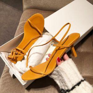 Mode Schlicht Gelb Freizeit Sandalen Damen 2019 Knöchelriemen 6 cm Stilettos Peeptoes Sandaletten