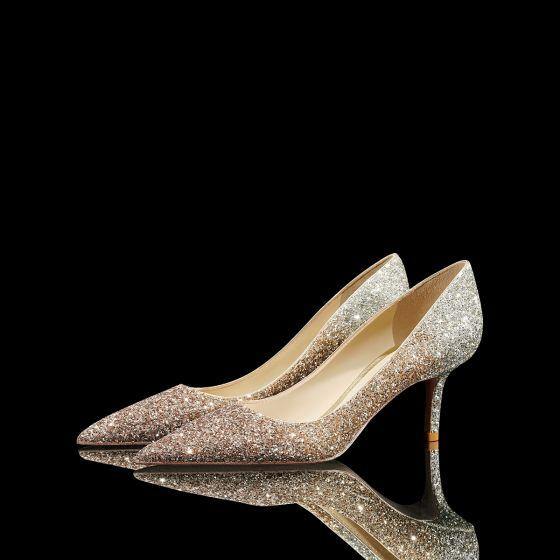 Encantador Brillante Oro Lentejuelas Zapatos de novia 2021 Cuero 8 cm Stilettos / Tacones De Aguja Punta Estrecha Boda Tacones High Heels