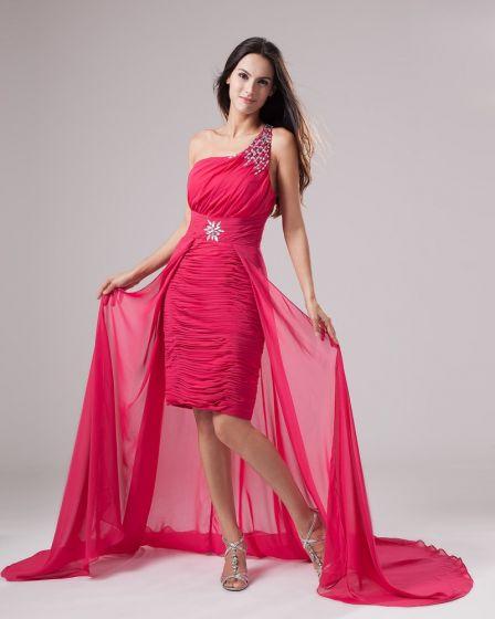 Gasa De La Manera De Un Hombro Vestidos De Cóctel Volantes Bordoneado Longitud Asimétrica Prom
