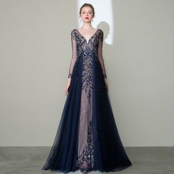 Luxury / Gorgeous Navy Blue See-through Pageant Evening Dresses  2020 A-Line / Princess Deep V-Neck Long Sleeve Handmade  Beading Glitter Tulle Sweep Train Ruffle Backless Formal Dresses