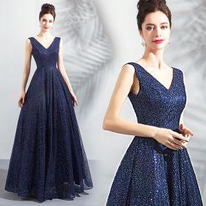 Bling Bling Bleu Marine Ciel étoilé Robe De Soirée 2018 Princesse V-Cou Sans Manches Glitter Longue Volants Dos Nu Robe De Ceremonie