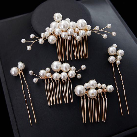 Charmant Gold Kamm Hochzeit Kopfschmuck 2020 Metall Perle Haarschmuck Braut