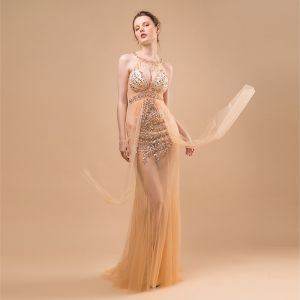 Sexy Champagne See-through Evening Dresses  2018 Trumpet / Mermaid Scoop Neck Sleeveless Beading Tassel Sweep Train Ruffle Backless Formal Dresses