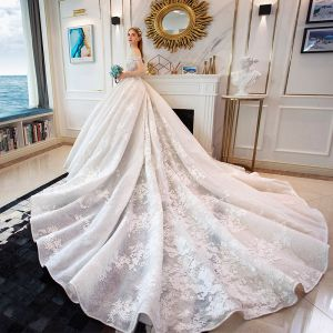 Charming Ivory Wedding Dresses 2019 A-Line / Princess Off-The-Shoulder Lace Flower Sleeveless Backless Royal Train