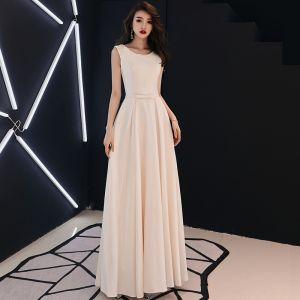 Élégant Couleur Unie Champagne Robe De Soirée 2019 Princesse Encolure Dégagée Perle Faux Diamant Sans Manches Longue Robe De Ceremonie
