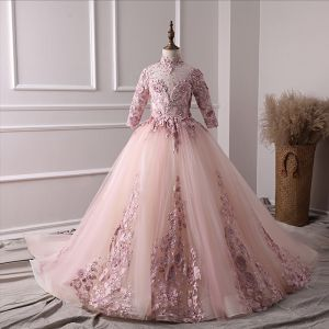 Luxury / Gorgeous Pearl Pink Flower Girl Dresses 2019 A-Line / Princess High Neck 3/4 Sleeve Appliques Lace Pearl Rhinestone Court Train Ruffle Backless Wedding Party Dresses