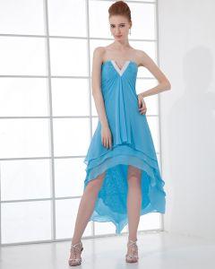 Imperio Sin Tirantes De La Gasa Asimétrica Vestidos De Cóctel De Tul Prom