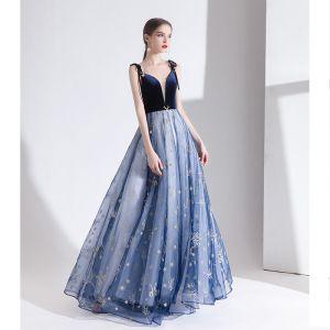 Mode Meeresblau Abendkleider 2020 A Linie Spaghettiträger Spitze Blumen Ärmellos Rückenfreies Lange Festliche Kleider