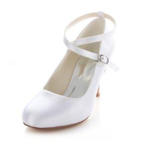 Klassische Weiße Satin Brautschuhe  8 Cm Hohe Absätze Stiletto Pumps Mit Knöchelriemen
