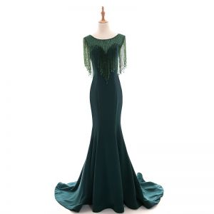 Modern / Fashion Dark Green See-through Evening Dresses  2018 Trumpet / Mermaid Scoop Neck Sleeveless Beading Crystal Tassel Court Train Ruffle Formal Dresses