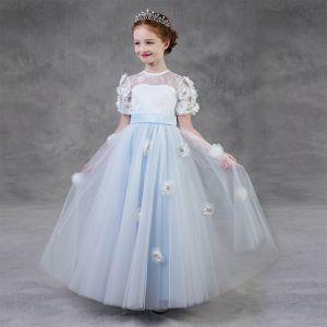Hada de las flores Azul Cielo Cumpleaños Vestidos para niñas 2020 A-Line / Princess Transparentes Scoop Escote Manga Corta Cinturón Apliques Flor Rhinestone Largos Ruffle