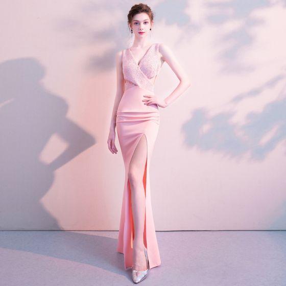 Modern Sexy Candy Roze Lange Avondjurken 2018 Trompet / Zeemeermin V-Hals Charmeuse Ruglooze Kralen Rhinestone Gelegenheid Jurken