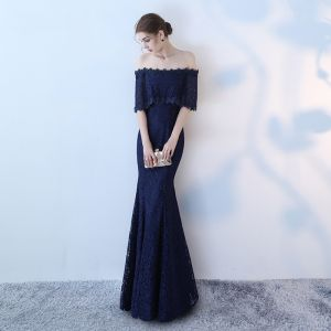 Chic / Beautiful 2017 Navy Blue Evening Dresses  Strapless Lace Handmade  Backless Trumpet / Mermaid Party Dresses