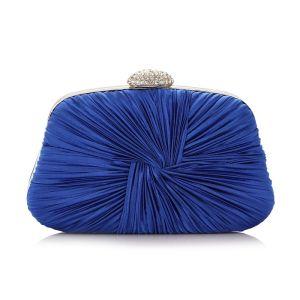 Vintage Königliches Blau Rüschen Clutch Tasche 2020