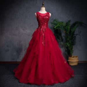 Classic Burgundy Prom Dresses 2018 A-Line / Princess See-through Scoop Neck Sleeveless Beading Glitter Sequins Floor-Length / Long Cascading Ruffles Backless Formal Dresses