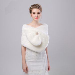 White Winter Faux Fur Evening Party Prom Wedding Shawls 2017