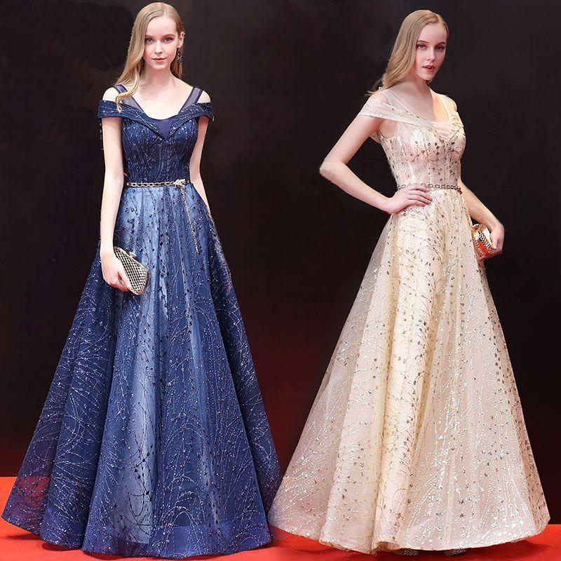 Elegant Prom Dresses 2018 A-Line / Princess Glitter Metal Sash Sequins Strapless Backless Sleeveless Floor-Length / Long Formal Dresses