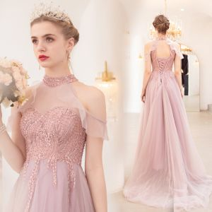 Fashion Blushing Pink Evening Dresses  2020 A-Line / Princess See-through High Neck Short Sleeve Appliques Lace Beading Sweep Train Backless Ruffle Formal Dresses