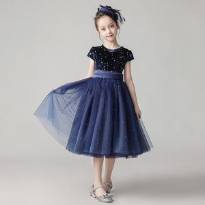 Starry Sky Navy Blue Flower Girl Dresses 2020 A-Line / Princess Scoop Neck Short Sleeve Sash Star Sequins Pearl Short Ruffle