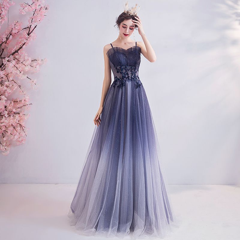 Classy Gradient-Color Purple Evening Dresses  2020 A-Line / Princess Spaghetti Straps Crystal Lace Flower Rhinestone Sequins Sleeveless Backless Floor-Length / Long Formal Dresses
