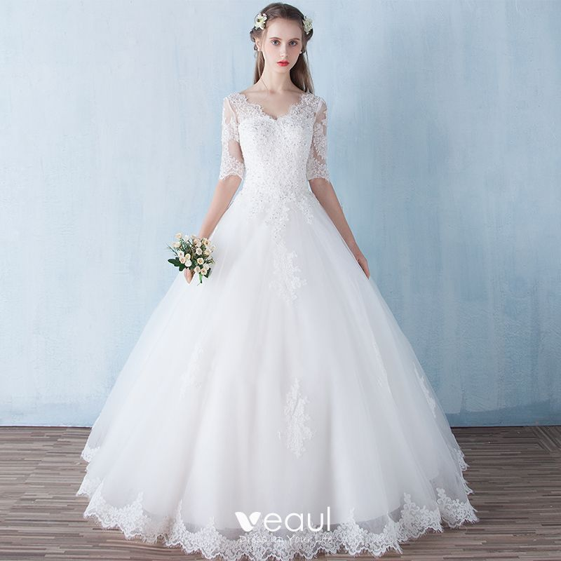 Modest Simple Outdoor Garden Wedding Dresses 2017 Backless Lace Rhinestone V Neck 12 Sleeves White Ball Gown Floor Length Long