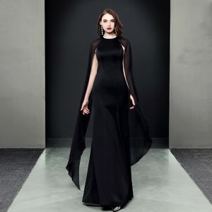 Amazing / Unique Black Evening Dresses  2018 Trumpet / Mermaid Scoop Neck Long Sleeve Floor-Length / Long Formal Dresses