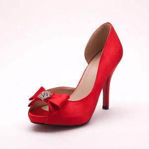 Strass Tete De Poisson Rouge Mariée De Chaussures / Chaussures De Mariage / Chaussures Femme