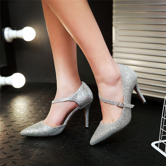 Hermoso Negro 2017 9 cm High Heels Fiesta Noche Glitter Lentejuelas Stilettos / Tacones De Aguja Punta Estrecha Zapatos De Mujer