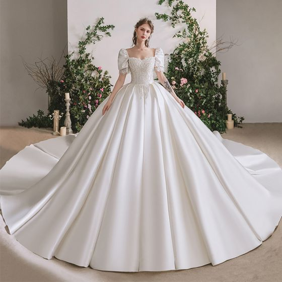 Stunning Ivory Satin Bridal Wedding Dresses 2020 Ball Gown Square Neckline Puffy Short Sleeve Backless Beading Cathedral Train Ruffle