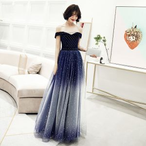 Charming Gradient-Color Navy Blue Evening Dresses  2019 A-Line / Princess Off-The-Shoulder Suede Glitter Star Sequins Sleeveless Backless Floor-Length / Long Formal Dresses