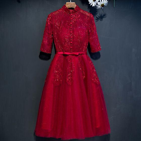 Piękne Czerwone Sukienki Na Studniówke 2017 Princessa Z Koronki Kwiat Frezowanie Kokarda Cekiny Wysokiej Szyi 1/2 Rękawy Krótkie Sukienki Wizytowe