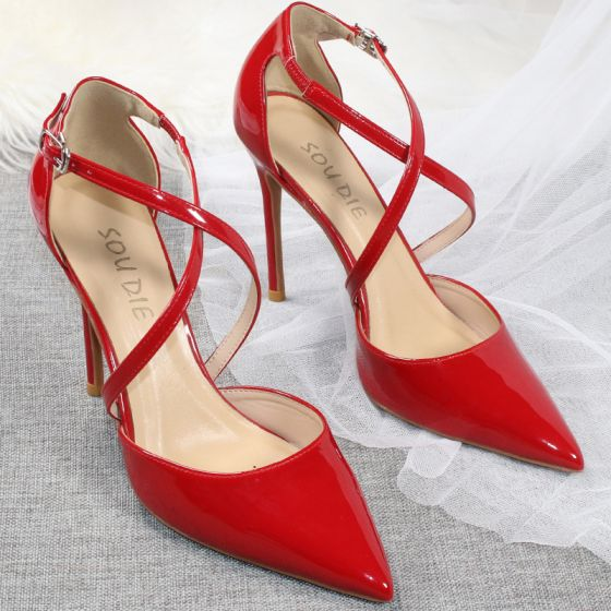 Sexy Red Evening Party Womens Shoes 2020 Patent Leather X-Strap 10 cm Stiletto Heels Pointed Toe Heels