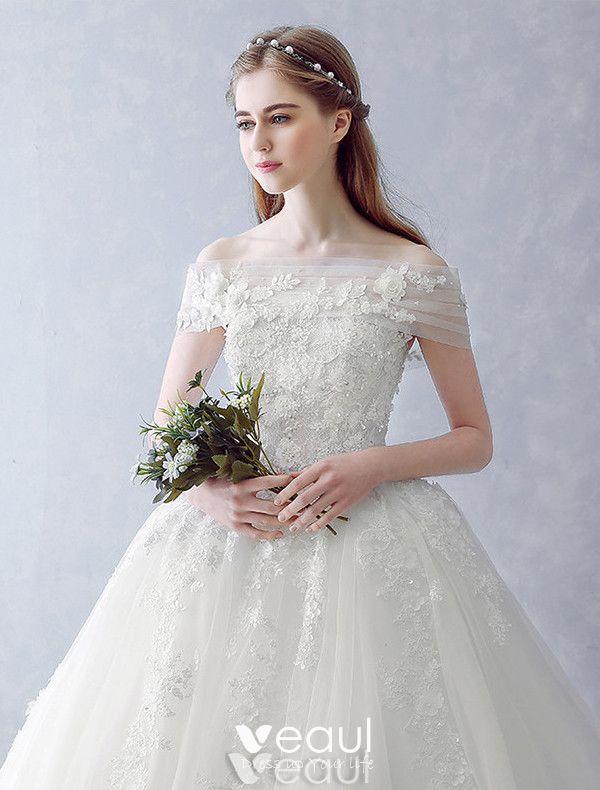 Elegant Wedding Dresses 2016 Ball Gown Strapless Applique