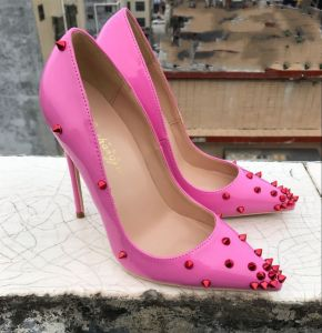 Chic / Beautiful Candy Pink Rave Club Pumps 2019 Patent Leather Rivet 12 cm Stiletto Heels Pointed Toe Pumps