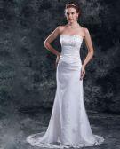 Tulle Flower Sequins Sweetheart Floor Length Sheath Wedding Dress