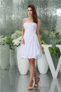Charmante Een-lijn Lieverd Geplooide Handgemaakte Bloemen Korte Bruidsjurk Eenvoudige Trouwjurk