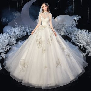 Vintage / Retro Ivory Bridal Wedding Dresses 2020 Ball Gown See-through High Neck 3/4 Sleeve Backless Appliques Lace Sequins Beading Cathedral Train Ruffle