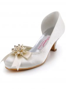 Handmade Custom Pearl Satin Burgundy Flowers In The Atmosphere With The Wedding Shoes Party Shoes