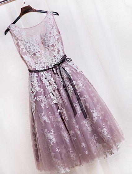 Elegant Party Dresses 2016 Scoop Neckline Tea Length Applique Lace Lilac Tulle Backless Formal Dress